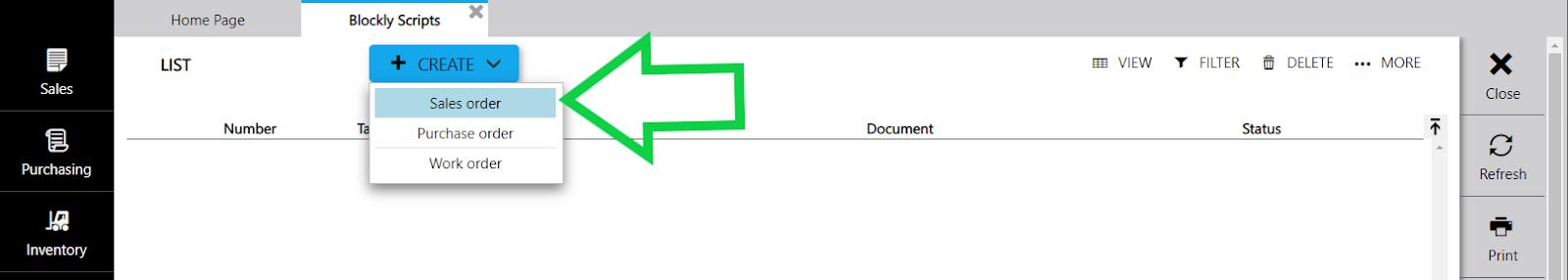 create blockly script