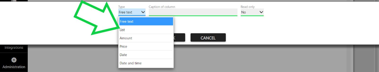 custom field type list
