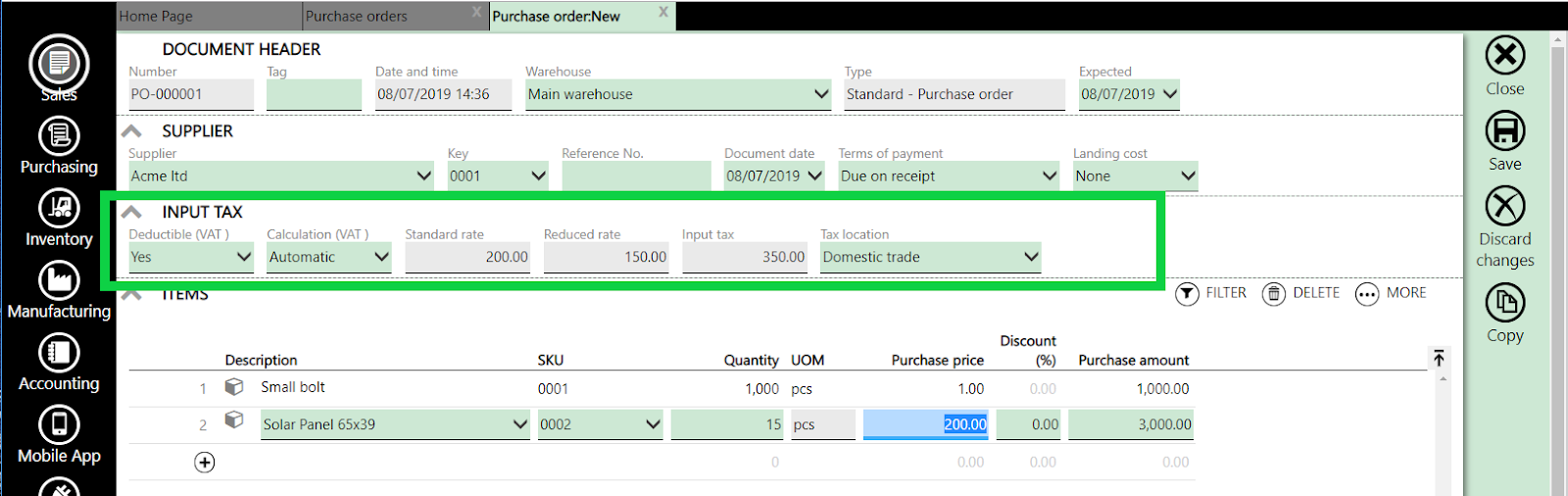 input tax purchase order