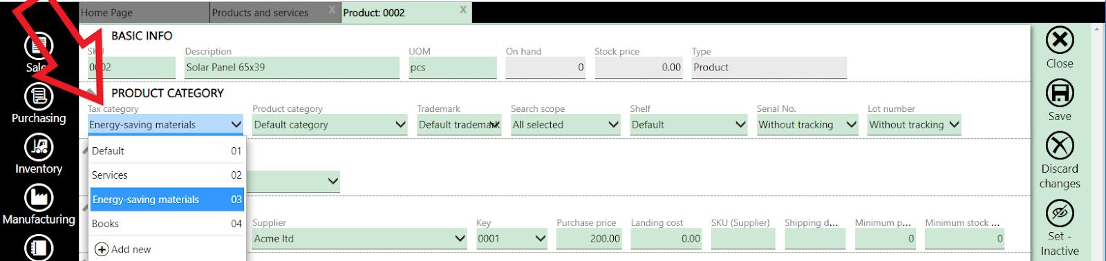 item tax settings