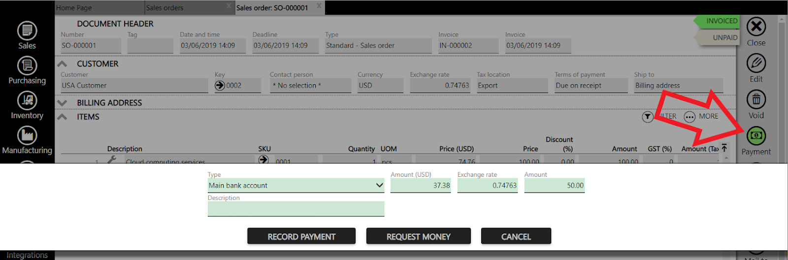 registering payment in fx currency