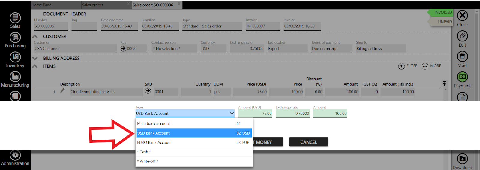 recording a payment of fx bank account