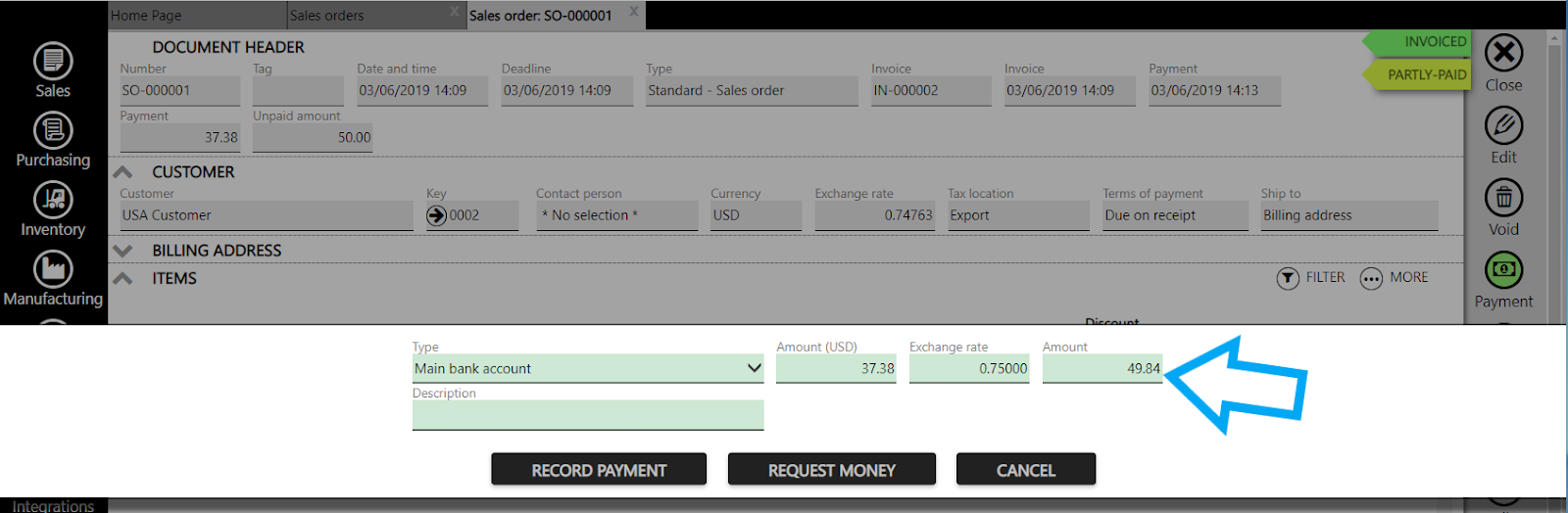 recording payment in fx currency