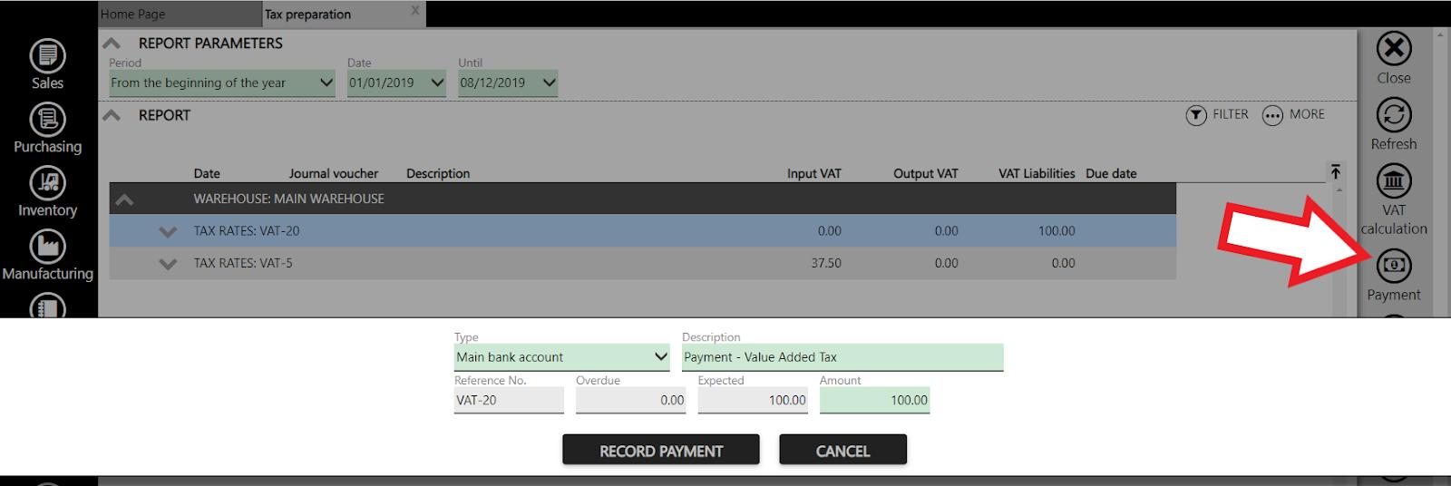 recording vat payment