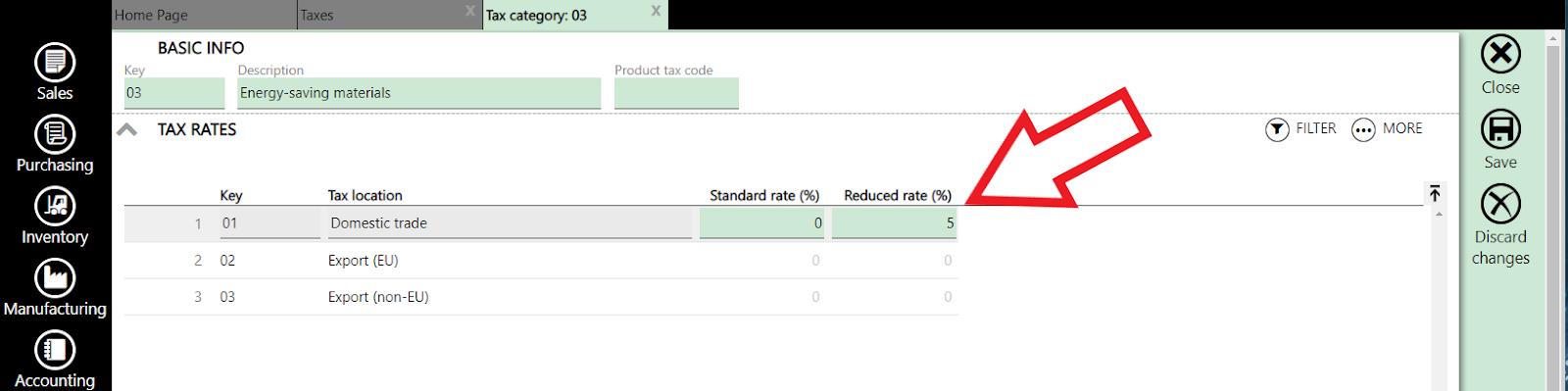 tax category settings