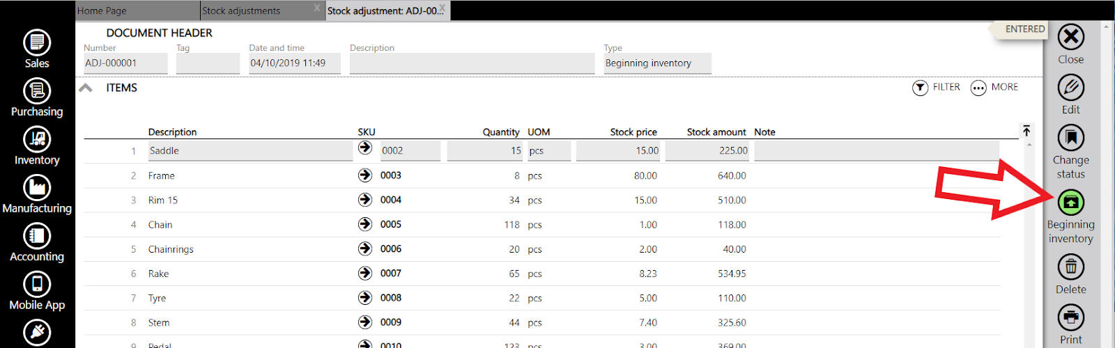 stock adjustment beginning inventory