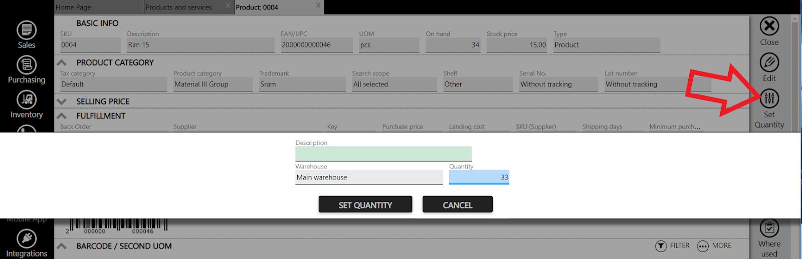 stock adjustment set quantity shortcut