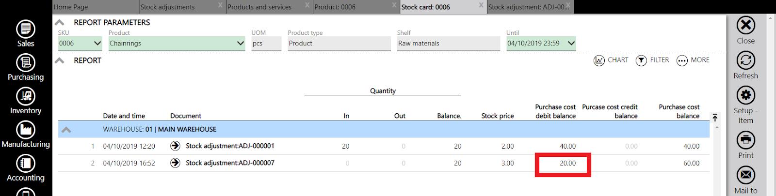 stock adjustment