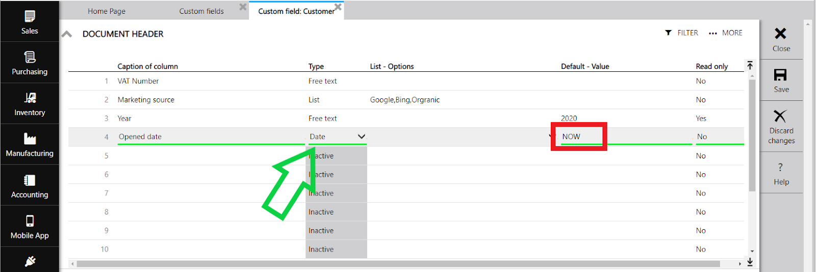 custom field default value now