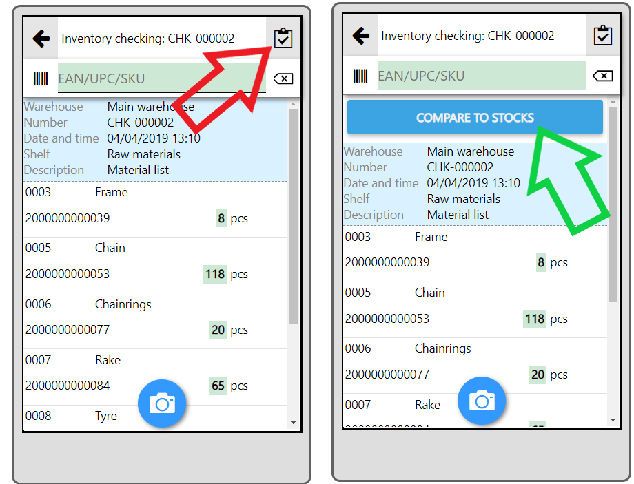 mobile app inventory checking