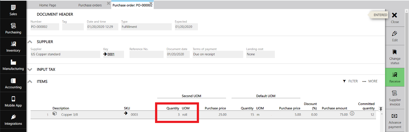 purchase order step quantity second uom