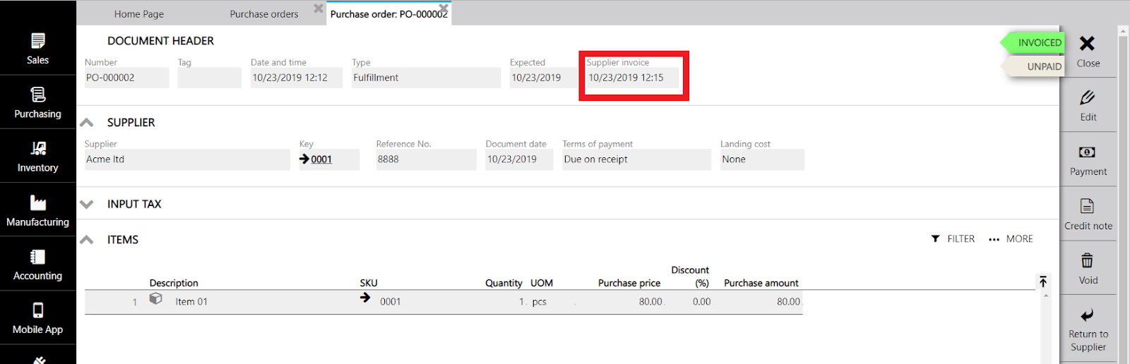 purchase order supplier invoice