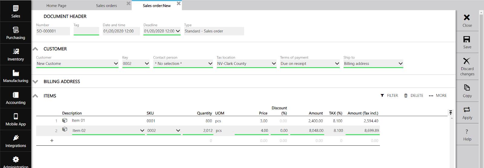 ERPAG sales order step quantity